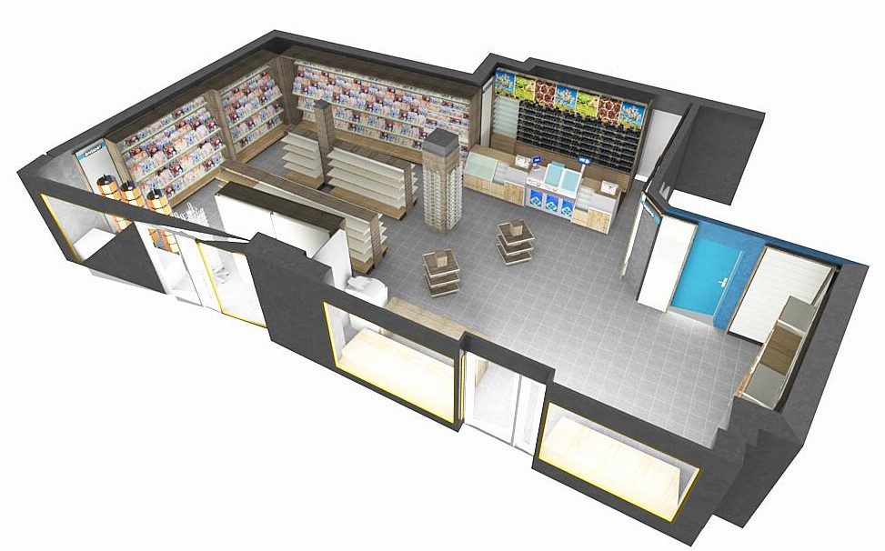 vue 3D agencement magasin tabac presse dans le nord / a2m diffusion