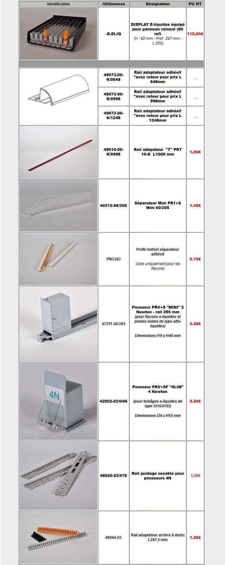 tarif poussoirs e-liquides site internet/a2m diffusion
