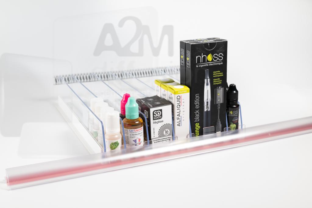 Ensemble complet poussoir e-liquide a2m diffusion filigrane